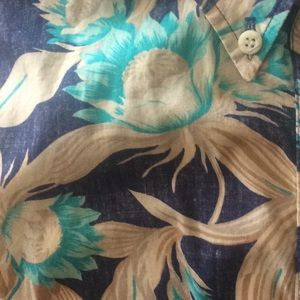 Vintage Hawaiian Teal Blue Flower Shirt